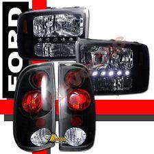 99-04 Ford F250 F350 SuperDuty Pickup Black LED Headlights + Tail Lights