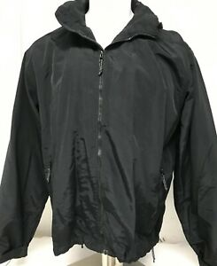 LANDS END Black Jacket Full Zip Men's L Mesh Lined Water Repellent