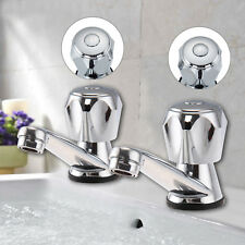 2Pcs Twin Hot and Cold Pair Tap Traditional Bath Bathroom Basin & Sink Chrome