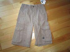 Boys Youth Size 8 MAMBO Khaki Cargo Long Shorts Adjustable Waist 100% Cotton