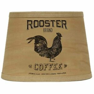 """Rooster Brand Tea Dyed 10"""" Tapered Drum Washer Lampshade by Raghu"""