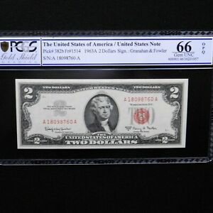 $ 2  1963-A, Legal Tender Note, Fr #1514, PCGS 66 OPQ Gem Unc