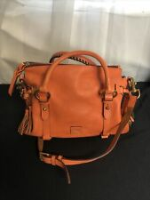 Dooney & Bourke Orange Pebble Grain Leather Satchel Purse Whip Stitched Handles