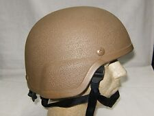 Helmet Army-Style Brown Motorcycle Hiking Biking Adjustable with Chin Strap