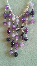 """UK Hand-Made 18"""" Silver-Plated Stunning Purple Agate Gemstone Beaded Necklace"""