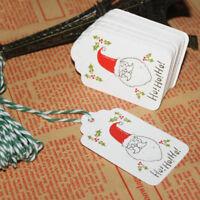 50Pcs Santa Kraft Paper Christmas Hanging Label Price Hang Tags Cards DS