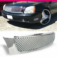 Fits 2000-2005 Cadillac Deville ABS Chrome Front Hood Grille Diamond Mesh Style
