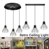 3 Way Vintage Industrial Ceiling Light Metal Hanging Pendant Lamp Cage Fixture
