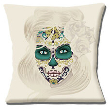 Mexican Sugar Skull Cushion Cover 16 inch 40cm Day of the Dead Girl Muted Colour