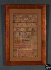 ANTIQUE NEEDLEWORK SAMPLER Dated 1785 Beautiful MISSION OAK FRAME ARCHIVAL GLASS