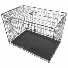 "30"" LARGE DOG CAGE CRATE PET PUPPY FOLDING METAL CAGE CARRIER HANDLE TRANSPORT"