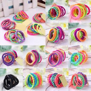 10PCS Scrunchie COLORFUL HAIR BANDS Elastics Bobbles Kids Girls School Rope Tie