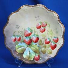 LIMOGES HAND-PAINTED STRAWBERRIES CABINET PLATE ARTIST SIGNED ALBERT