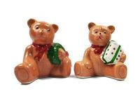 "Teddy Bear Vintage Ceramic 3 1/2"" Christmas Salt & Pepper Shakers"