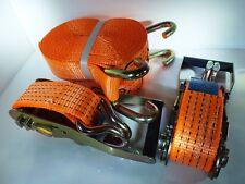 5 x Heavy Duty 5-Ton Lashing Belts with Open-Claw Hooks & Ratchets (9m x 50mm)