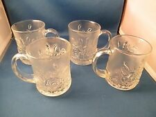 Indonesia Pressed Glass Cup Mug Set Pasari Liva Frosted Rose Vintage 4 pc.