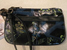 NEW! Mudd Angie Glazed WRISTLET Blue Black Peace Flower Wallet Purse Great Gift!