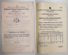 FABBRICHE RIUNITE CEMENTO CALCE CERTIFICATI DI PROVE Bergamo 1923 Costruzioni
