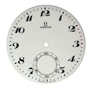 Orig. NOS Vintage Omega Porcelain Pocket Watch Dial with Sunken Seconds Track #8