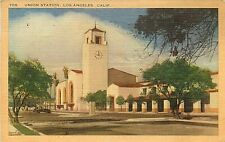 Linen Postcard CA G515 Cancel 1947 Union Station Los Angles Spanish Architecture