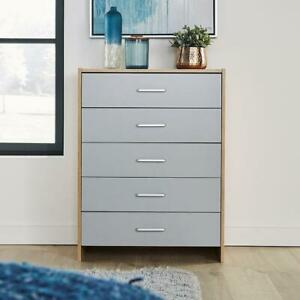 Stratford Grey Oak Chest of 5 Drawers Bedroom Furniture With Metal Runners