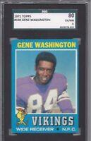 1971 Topps football card #130 Gene Washington, Minnesota Vikings SGC 80 EXMT 6