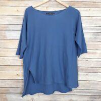 Peruvian Connection Womens Top Short Sleeve Blue Knit Split Sides Size Medium