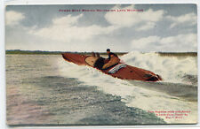 Power Speed Boat Setting Record Lake Michgan 1910c postcard