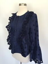 New J.Crew Floral Eyelet Top In Navy G8370 Size 10 Blouse