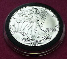 1987  SILVER EAGLE  $1 ONE DOLLAR COIN - LOVELY COIN  ENCAPSULATED