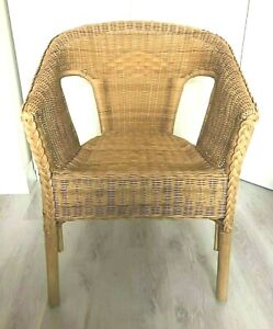 Wicker rattan cane chair seat occasional accent bedroom office comfortable brown