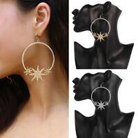1 Pair Women Elegant Rhinestone Round Star Earrings Dangle Hoop Pendant Ear Stud