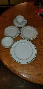 Buffalo China Green Stripe Restaurant Plate Sets
