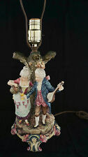 Fabulous Antique French Barbotine Majolica Figural Table Lamp