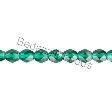 50 Transparent Czech Glass Round Faceted Fire Polished Beads In Sizes Small -Big