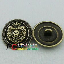 4 X Skull Head 22mm Alloy Metal Buttons Sewing Collectable Craft Cardmaking
