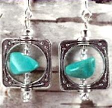 EXQUISITE TURQUOISE SPINNING STONE PEWTER EARRINGS - 1-1/2 INCHES
