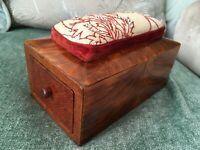 Antique GEORGIAN Sewing / NEEDLEWORK BOX - MOTHER of PEARL Tools, SILVER THIMBLE