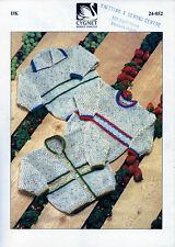 ~ Cygnet Baby Knitting Pattern For Patterned Border Cardigan & Sweaters ~