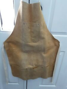 NEW Leather/Rawhide Apron/Bib Made Of Leather with 4 pockets/pouches & tie strap