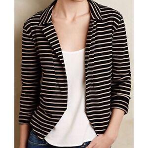 Dolan Anthropologie Shadow Band Black Tan Striped Open Knit Blazer Jacket Size L