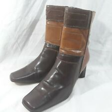 New York Transit Ankle Boots Womens 6 Patchwork Faux Leather Brown Tan Stitching