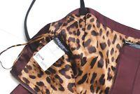 Dolce & Gabbana Burgundy Leopard Lined Dress IT 44 uk 12