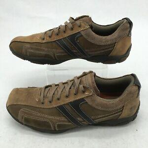 Skechers Men 10.5 Orton Fario Casual Oxford Sneakers Brown Leather Low Top 62861