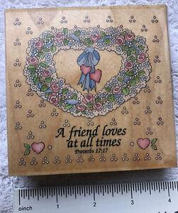 "A Friend Loves #70027 Proverbs 17:17 Rubber Stamp Heart Wreath 4""x4"""