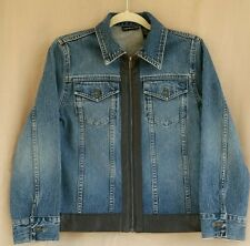 DKNY JEANS Zip Front Brown Faux Leather Trim Denim Jacket Size S