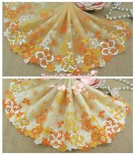 "6.5""*1Y Embroidered Tulle Lace Trim~Icy Orange+Orange+Yellow~Colorful Dream~"