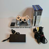 Sony Playstation 2 Console PS2 Slim Silver with 5 Games