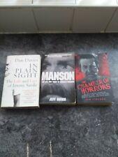 True Crime Books Manson Jimmy Savile Chamber Of Horrors X 3 paperbacks killers