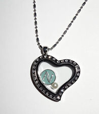 Heart Floating Charm Locket w FREE Nerium Inspired Charm- Fit Origami Owl Charm